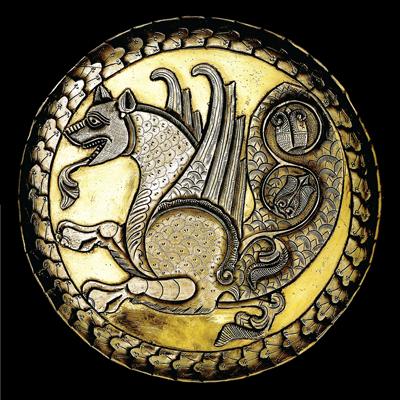 Le senmerv sur un plat d'époque sassanide (7ème siècle ap. J.-C.)